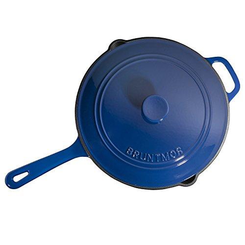 Enameled Cast Iron Skillet Deep Sauté Pan with Lid, 12 Inch, Duke Blue, Superior Heat Retention by Bruntmor (Image #5)