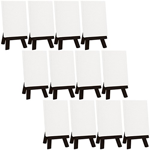 US Art Supply Artists 3 x 4 inch Mini Canvas and Black Easel Set Painting Craft Drawing - Set Contains: 12 Mini Canvases and 12 Black Mini Easels by US Art Supply