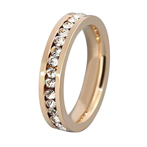AMDXD Jewelry Titanium Stainless Steel Plated 14K Rose Gold Women's Fashion Rings Inlaid CZ US Size 7