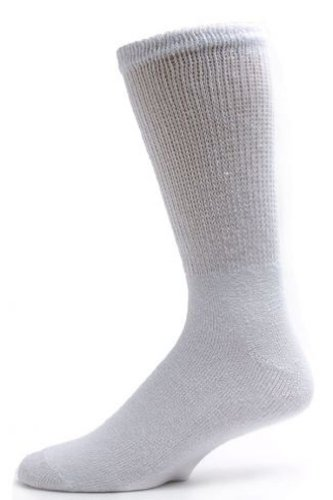 Diabetic Basics Healthy Foot (3 Pairs Men Healthy Circulation Diabetic Crew Socks (10-13(Shoes sizes 10-12), White))