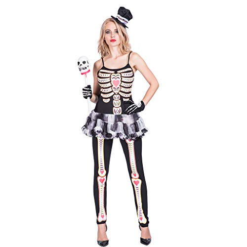 Ytwysj Women Adult Party Fancy Sexy Seductive Fever Skeleton Halloween Costume Tutu Dress with Detachable Clear with -