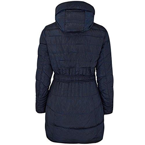 Marino Piel Fashion Invierno Parka Chaqueta Thirsty Acolchado Falsa Talla Mujer Azul Abrigo Detallado De Capucha rIHqra6