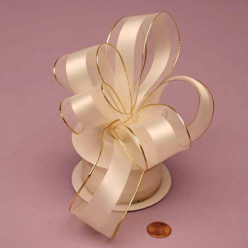 Ivory Wired Satin Ribbon - Ivory Sheer Ribbon With Satin Stripe And Gold Edges, 1-1/2