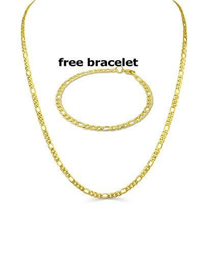 - BLING CULTURE Life Time Warranty 4mm Gold Figaro Chain Necklace for Men Women Lifetime Replacement Free 4mm Bracelet (16, Yellow-Gold