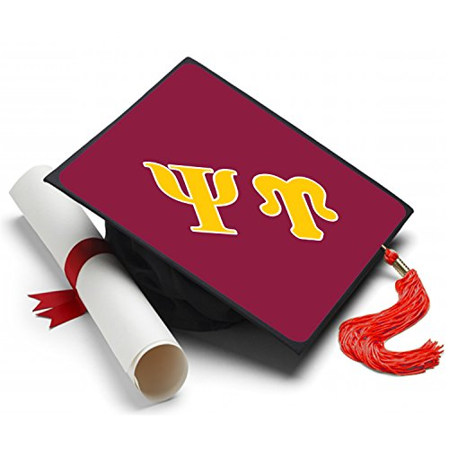Sorority Big Little Reveal Costumes (Psi Upsilon Graduation Cap Hat Topper Decoration Fraternity 8.5 x 8.5 Inch)