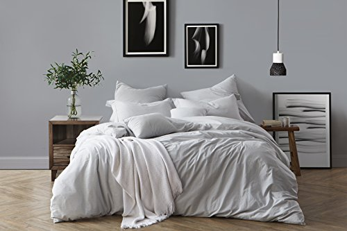 California Pale (Swift Home 100% Cotton Washed Yarn Dyed Chambray Duvet Cover & Sham Bedding Set, Ultra-Soft Luxury & Natural Wrinkled Look – King/California King, Pale Blue)