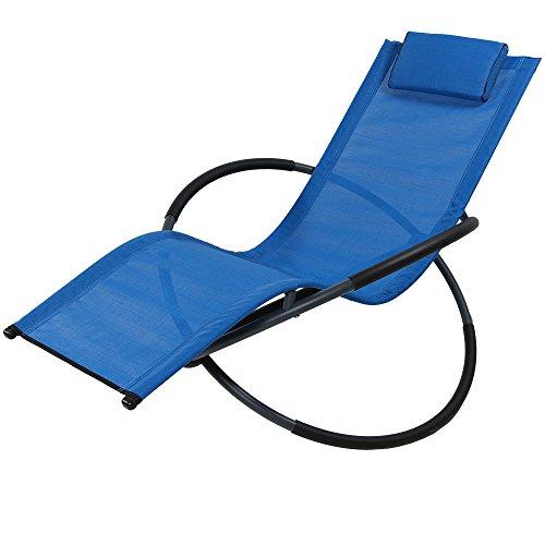 Sunnydaze Orbital Outdoor Folding Zero Gravity Rocking Lounger w/Pillow, Blue