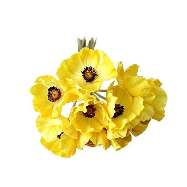 10 Stems Artificial Poppies Real Touch PU Fake Latex Flowers for Wedding Holiday Bridal Bouquet Home Party Decor (Yellow)