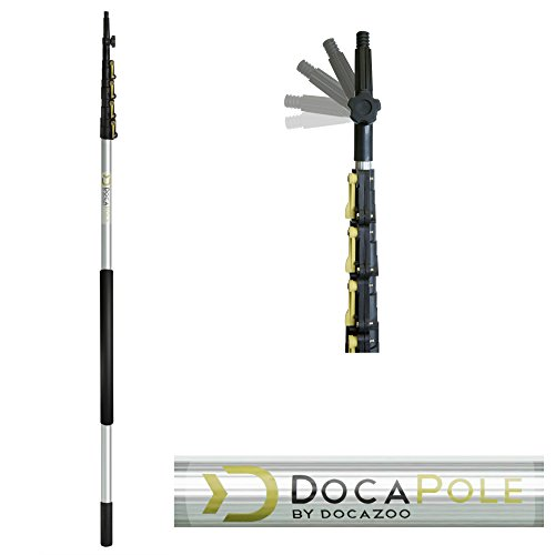 DocaPole 6-24 foot Extension Pole - Multi-Purpose Telescopic Pole//Light Bulb Changer//Paint Roller//Duster Pole//Telescoping Pole for Window Cleaning, Gutter Cleaning, and Hanging Lights