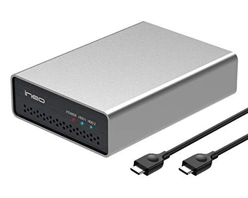 ineo USB 3.1 Gen 2 Type C Dual Bay 2.5