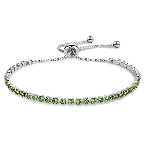 Zealmer Shoopic Olive Green Cubic Zirconia Adjustable Bolo Bracelet White Gold
