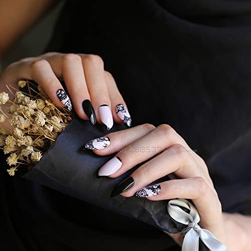Amazon.com: Punto de uñas postizas con patrón de encaje ...