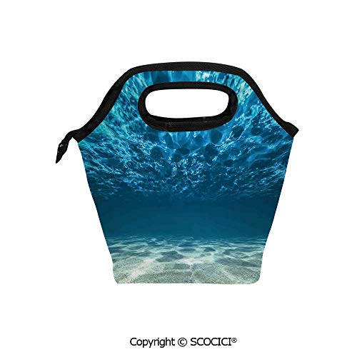 Reusable Printed Design Lunch Bag Bright Gravelly Bottom and Wavy Surface Tropical Seascape Abyss Underwater Sunny Day Lunch Tote bag for Work and School.