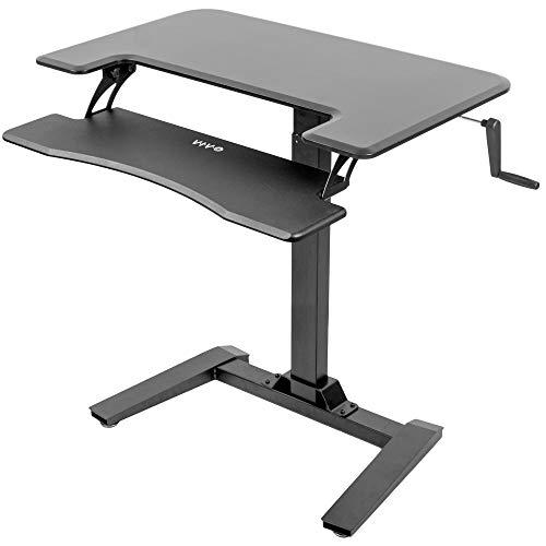 "VIVO Black Manual Crank Height Adjustable Two Platform Standing Desk with Base | Dual Tiered Small Space Workstation Stand 36"" Top (DESK-V111VM) ()"