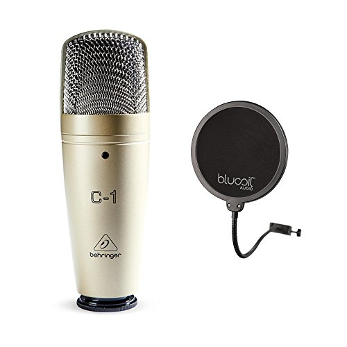 Behringer C-1 Large-Diaphragm Condenser Microphone for Live and Studio Recording Bundle with Blucoil Pop Filter Windscreen by blucoil