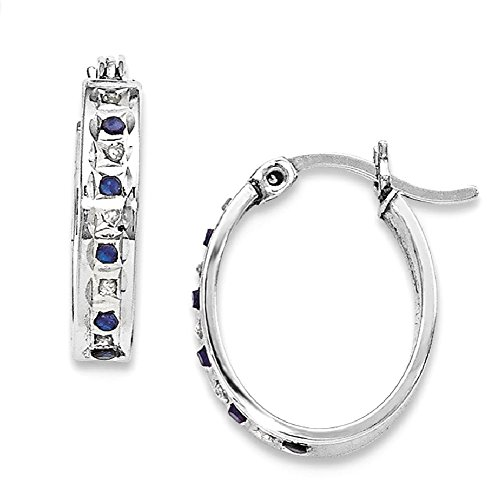 ICE CARATS 925 Sterling Silver Platinum Plated Diamond Sapphire Oval Hoop Earrings Ear Hoops Set Fine Jewelry Gift Set For Women Heart