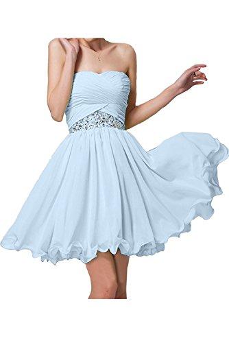 Blau Hell Braut mia Kurz Hell Partykleider Elegant La Mini Chiffon Jugendweihe Blau Brautjungfernkleider Kleider Abendkleider O6qw55pdn