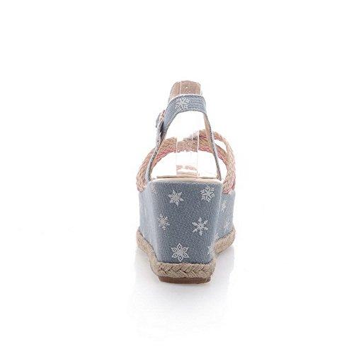 Alto Donna Aperta Colore Sandali Odomolor Punta Assortito Fibbia Tacco Azzurro ZwqnXd0