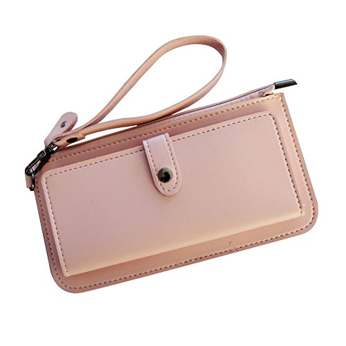 - Women Wallets Clutch Wristlet Handbags Aeeque Soft PU Leather Credit Card Holder Checkbook Zipper Travel Wallet Purse for iPhone X 8 7 6 6S 5SE/Samsung S8 S7 S6 A5 J3 5 7, Gift for Her, Pink