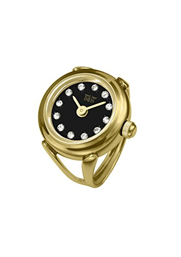 Davis - Womens Finger Ring Watch Swarovski Crystal Rhinestones Sapphire Glass Adjustable (Gold Steel / Black Dial) by Davis Instruments (Image #2)
