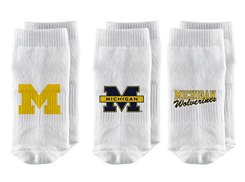 Strideline NCAA Michigan Wolverines Toddler Baby Socks, White, 3-Pack, Size 12-24 Months