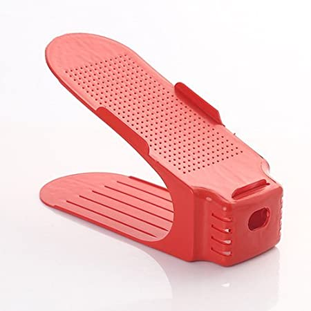 Prime 5Pcs Shoe Slot Organizer Space Saver - Double Layer Space Saver Shoe Rack Holder Set of 5 (RED) Eazzie Co. Ltd