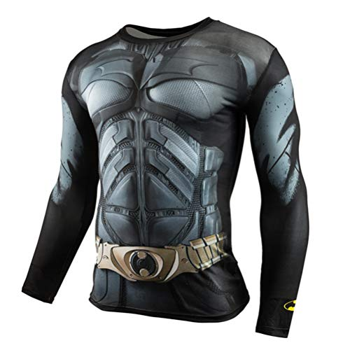 Dri-fit Compression Fitness Shirt for Mens Long Sleeve Batman Gym Shirt S