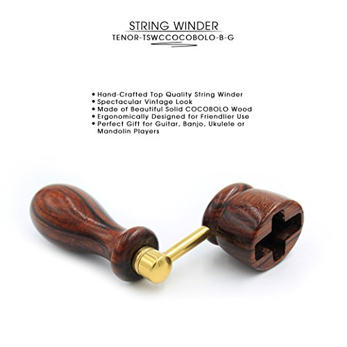 ''COCOBOLO'' Handcrafted Wooden Guitar String Winder by Tenor. Designed For Classical, Flamenco, Acoustic, Electric Guitars and Ukuleles. Made Of Solid Handpicked COCOBOLO Wood. Beautiful Vintage Look. by Tenor (Image #1)