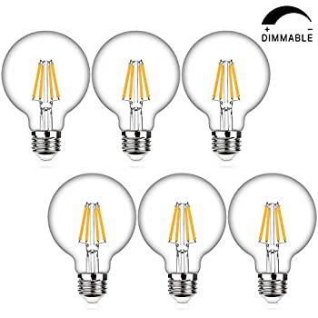LED Globe G25 Dimmable Edison Light Bulbs 60W Replace, 7Watt, Medium Screw Base E26, 2700K Warm White, 800Lm, Omnidirectional Bathroom Vanity Mirror Light, ...