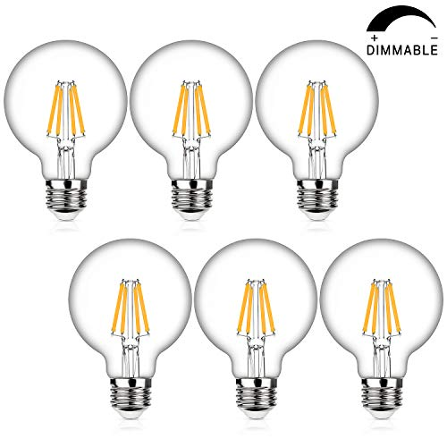 LED Globe G25 Dimmable Edison Light Bulbs 60W Equivalent, 2700K Warm White, 800Lm, E26 Medium Screw Base, 7Watt Omnidirectional Bathroom Vanity Mirror Light, 6-Pack