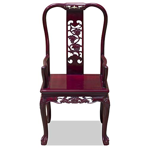 China Furniture Online Rosewood Arm Chair, Hand Carved Grape Vine Motif in Dark Cherry Finish ()