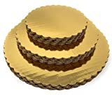 Premium Quality Gold Cake Circles - Set of 15 Grease Proof Laminated Round Cake Boards Bases 6 inch, 8 inch, 10 inch Diameter - Perfect for Birthday and Wedding Cakes