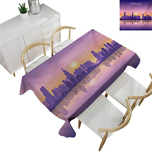 (familytaste Chicago Skyline,Table Cloth Printed,Sunset in Illinois American Horizon Behind High City Silhouettes,Party Tablecloth Covers 50