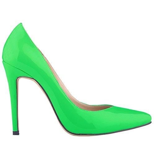 Loslandifen Womens Patent Pu Tacco Alto Scarpe Da Lavoro Stile Corsetto Scarpe Verdi