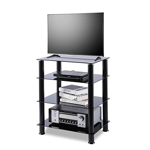 - TAVR 4-Tiers Media Compontent TV Stand Audio Video Tower Tempered Glass Shevles for TV, Xbox, Gaming Consoles, Media Component, Streaming Device, HF1001
