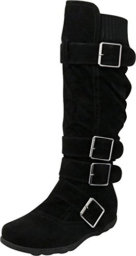 Knee Cambridge Knit Select Buckle Black High Sweater Boot Women's Flat RqRrxP