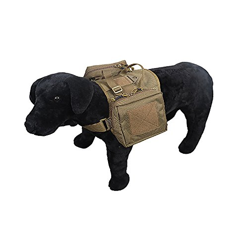 Tactical Dog Training Harness Vest Hunting Molle Rucksack Compact Nylon Packs Coat with Detachable Pouches