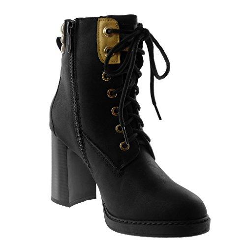 Motard Noir Haut Femme Talon 5 Chaussure Matelassé Bloc Mode Lacets 9 cm Rangers Bottine Angkorly TaqpIx6wa
