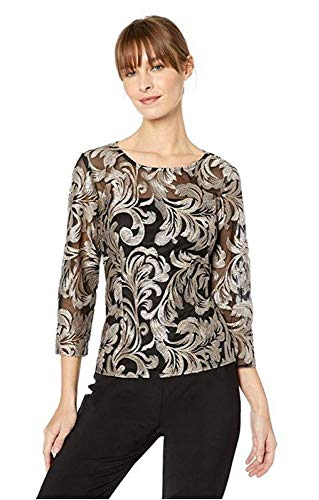 Alex Evenings Women's Embroidered Blouse Shirt (Missy and Petite), Beige/Black, - Embroidered Petite Blouse