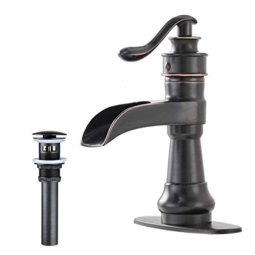 - Greenspring Waterfall Bathroom Sink Faucets Single Handle One Hole Lever Deck Plate Faucet Pop Up Drain With Overflow Oil Rubbed Bronze Commercial