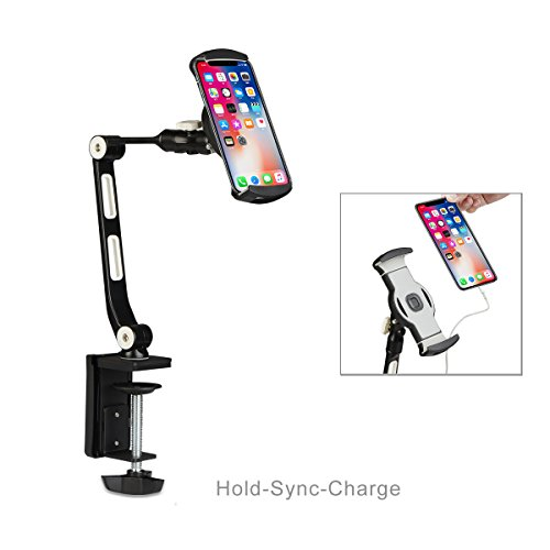 suptek 360 Degree Adjustable Stand/Holder with Clamp for Tablets & iPad iPhone Samsung Asus Tablet Smartphone and more up to 13 inches Black YF208B by suptek (Image #6)