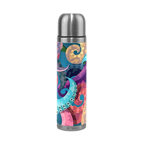 Wamika Red Blue Yellow Octopus Tentacle Double Wall Vacuum Cup Insulated Stainless Steel PU Leather Travel Mug Pot, Sea Ocean Monster Animal Christmas Birthday Gifts for Mom Dad Boys Girls Kids by Wamika