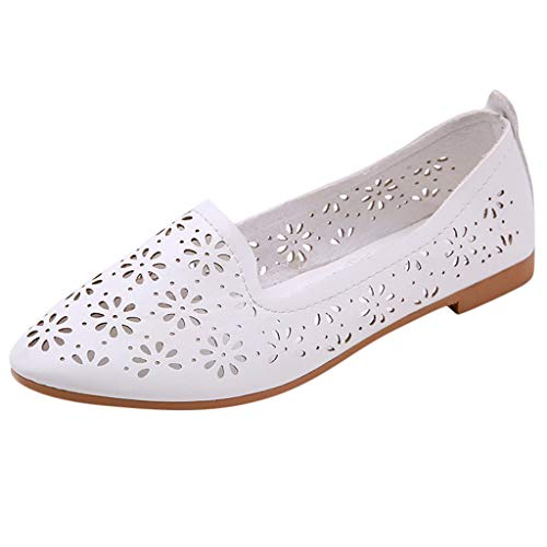 NEARTIMEWomen's Flat Shoes-Ladies Casual Shallow Pointed Toe Sandals Hollow Out Slip On Low Heels Work Shoes