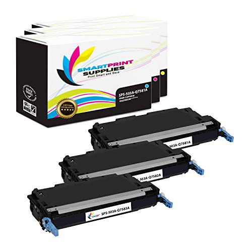 Smart Print Supplies Compatible 503A Toner Cartridge Replacement for HP Color Laserjet 3800, CP3505 Printers (Q7581A Cyan, Q7583A Magenta, Q7582A Yellow) - 3 Pack