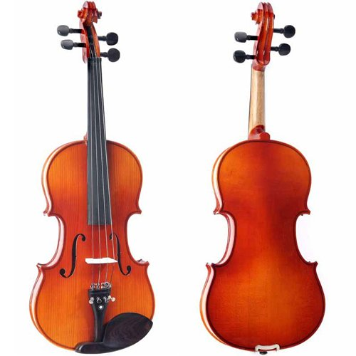 Cecilio CVN-320L Ebony Fitted Solid Wood Left-Handed Violin with Tuner and Lesson Book, Size 4/4 (Full Size)
