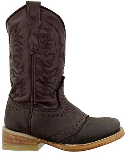 Dark Brown Kids Shoes Smooth (Veretta Boots Kid's Boy Dark Brown Leather Cowboy Boots Square Toe Natural 7 Toddler)