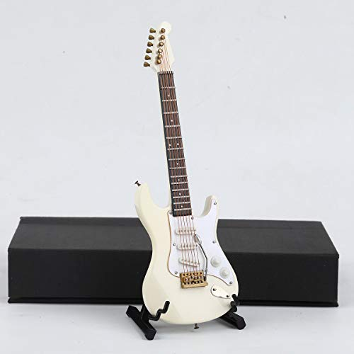 Dselvgvu Wooden Miniature Electric Guitar with Stand and Case Mini Musical Instrument Miniature Dollhouse Model Birthday…