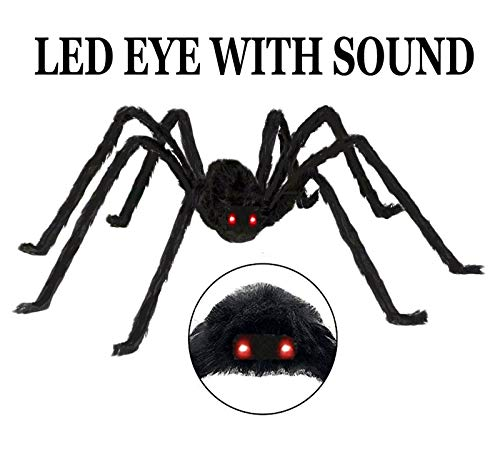 AISENO Giant Spider 4.2FT/125cm with LED Eyes Spooky Sound Halloween Decorations Foldable Spider by AISENO