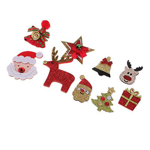 Fenteer 9 Pieces Glitter Fabric Santa Xmas Tree Embellishments Findings for Christmas Party Clothing Bag Hat Decoration -