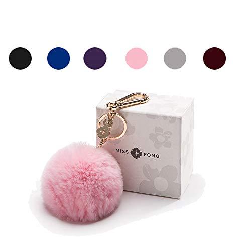 (Pom Pom Keychains for Women by Miss Fong,Cute Keychain,Puff Ball Key Chain Women,Bag charms for Handbags Fur Ball in Fox Fur)